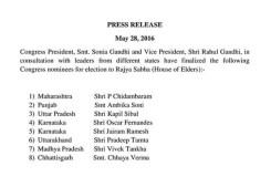 कांग्रेस ने की 8 राज्यसभा उम्मीदवारों की घोषणा