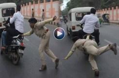 ट्रैफिक रुल तोड़ते युवकों को पकड़ती लेडी पुलिस, वायरल