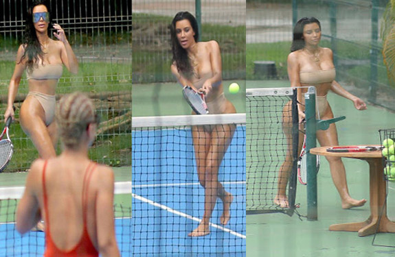 Kim Kardashian playing tennis in Two Piece bikini