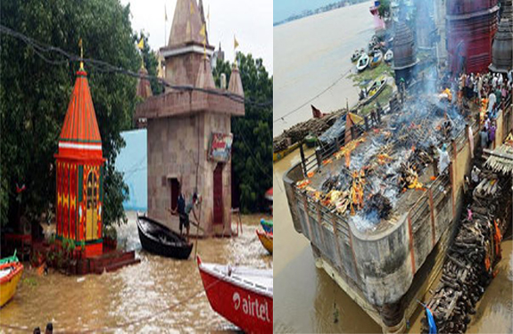 Manikarnika Ghat Shrouded Harishchandra Ghat Ganga Aarti in Varanasi copy