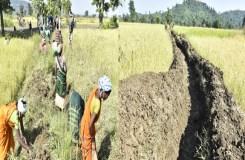 श्रमदान से ग्रामीणों ने बनाया तीन किलो मीटर वाटर कोर्स