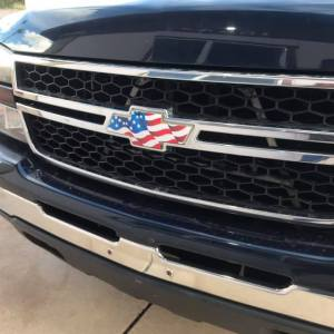 American Flag Front Chevy Emblem Decal for Chevrolet Trucks