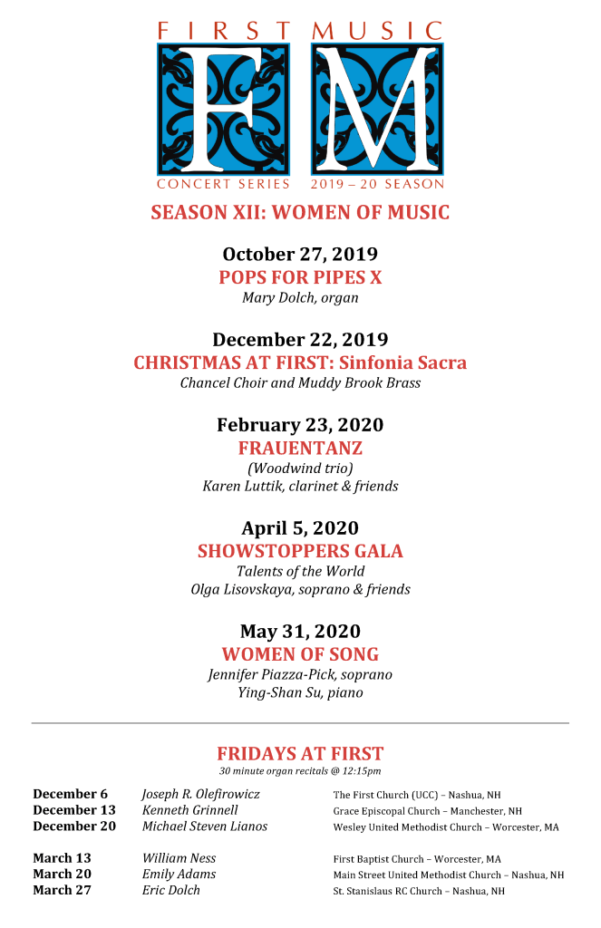 FIRST MUSIC CONCERT SERIES 2019-2020