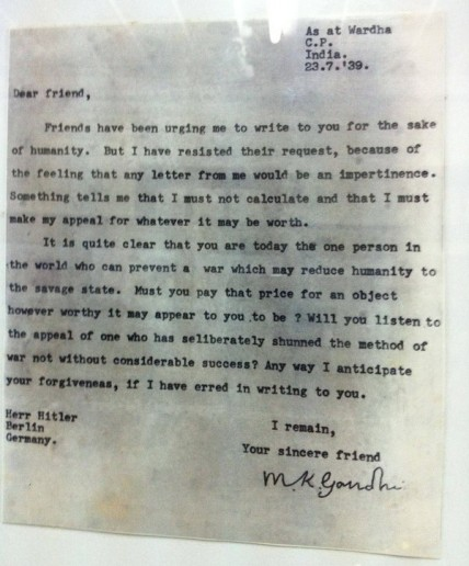 a letter from ghandi to hitler