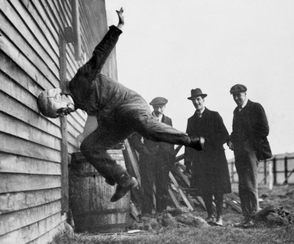 Testing out an early football helmet