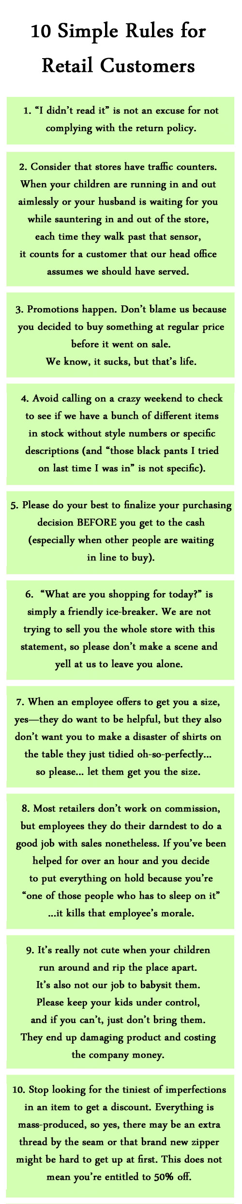 10 Simple Rules for Retail Customers