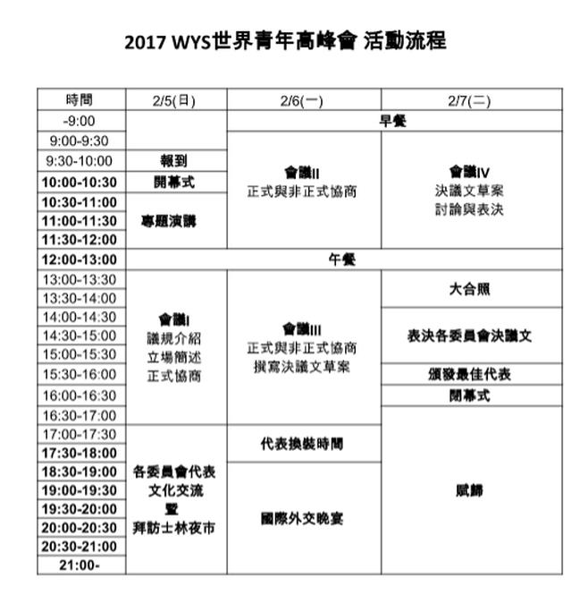 會議議程Conference Agenda - 2017 世界青年高峰會 World Youth Summit 2017