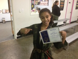"Jaidyn Harris With Her Straight ""A"" Award From Aberdeen Middle School"