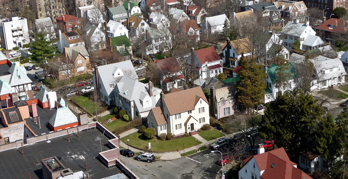 Aerial view of Forrest Hills Queens, NY