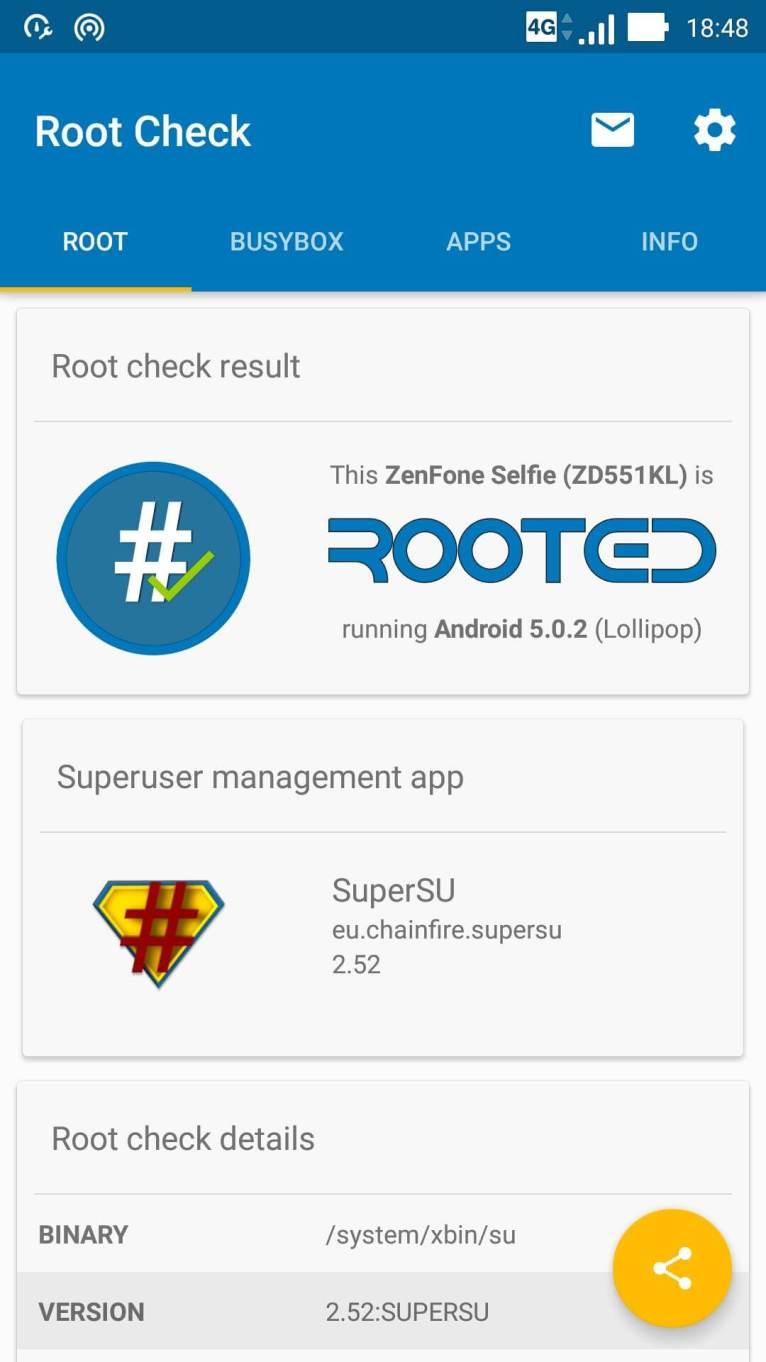 Rooted ZenFone Selfie
