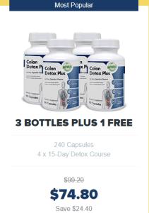 An image of four bottles of colon detox plus on offer