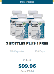 An image of four bottles of probiotic 40 billion - Probiotics Review