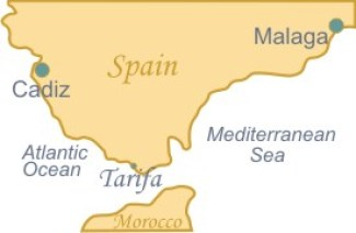 map of Spain showing Tarifa
