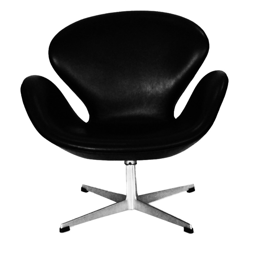 Swan Chair Arne Jacobsen Original Black Leather Swan Chairs Pair ...