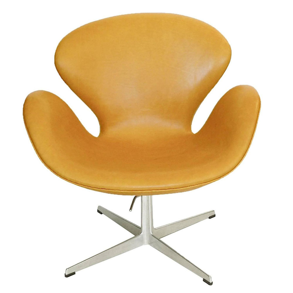 Swan Chair Arne Jacobsen Adjustable Swan Chair Golden Tan Leather ...