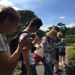 What is drawing attention to the people in the East Garden of  Imperial palace? Sept.07 2019
