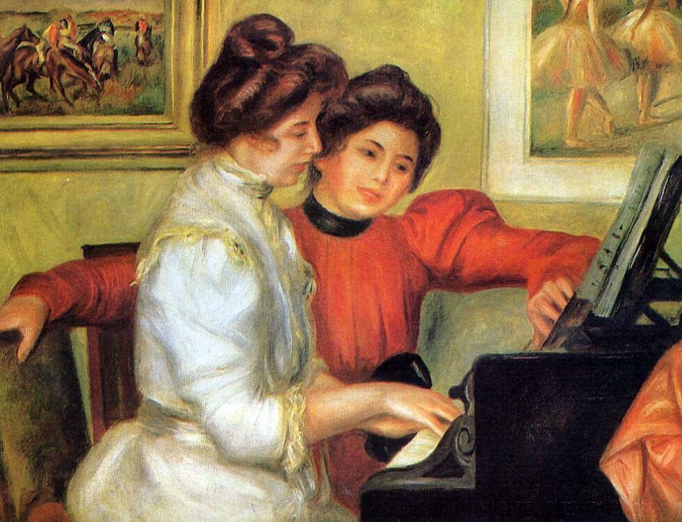 ピアノを弾くイヴォンヌとクリスティーヌ・ルロル ルノワール