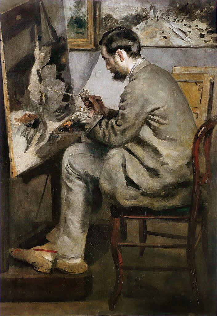 イーゼルで絵を描くフレデリック・バジール ルノワール