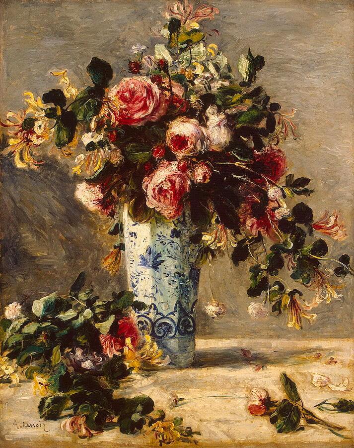 デルフト焼きの花瓶のバラとジャスミン ルノワール