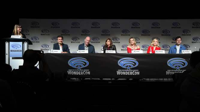 """ANAHEIM, CA - MARCH 24: (L-R) Moderator Laura Prudom, Doug Liman, Gene Klein, Lauren LeFranc, Missi Pyle, Maddie Hasson, and Daniel Maslany onstage at Executive Producers, Showrunner & Stars of New YouTube Red Original Series """"Impulse"""" Debut Never-Before-Seen Footage for Fans at WonderCon Panel at Anaheim Convention Center on March 24, 2018 in Anaheim, California. (Photo by Michael Kovac/Getty Images for YouTube)"""