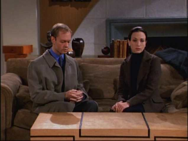 """FRASIER -- """"The Apparent Trap"""" Episodic 9 -- Pictured: (l-r) David Hyde Pierce as Dr. Niles Crane, Bebe Neuwirth as Dr. Lilith Sternin"""