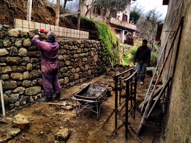 """The """"new"""" old wall is reinforced and is being carefully constructed in the best possible way (including new drainage). And what a handsome wall it will be!"""