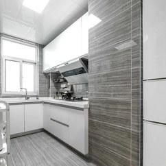 Grey Kitchen Tile Cabinet Makers 现代简约风厨房高端灰色系瓷砖设计 齐家网装修效果图