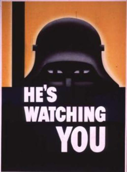 WW2 Propaganda Poster by the Allies, warning about Axis spies