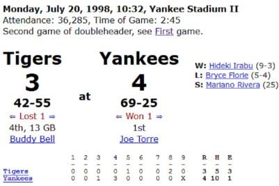 7/20/98 Yankee Stadium Game 2 box score