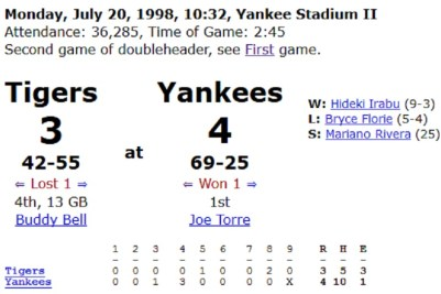 7/20/98 Yankee Stadium Game 2 box score