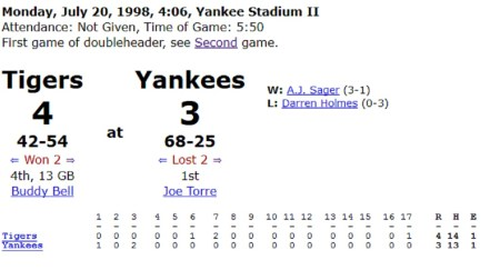 7/20/98 Yankee Stadium Game 1 box score