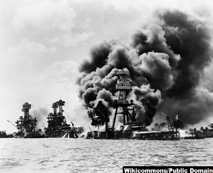 USS Arizona after Pearl Harbor attack