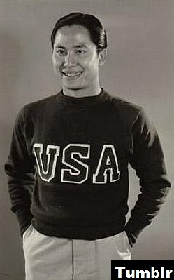 Keye Luke in a USA sweater