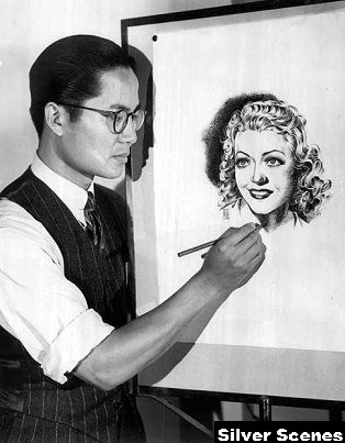 Chinese-American Keye Luke illustrating - Silver Scenes