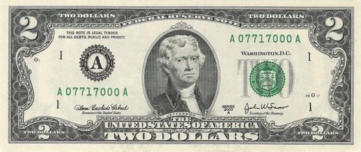 Thomas Jefferson on $2