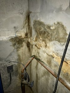 Elevator pit wall damaged