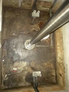 Dirty elevator pit floor