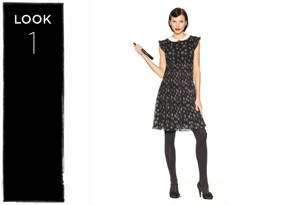 Peter Pan collar dress in black star print