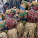 Moment 3 Masquerades kneel before pastor to pray for them