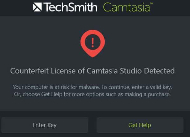 Counterfeit license of Camtasia Studio detected