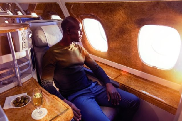 Business Class comfort on board Emirates A380 aircraft.