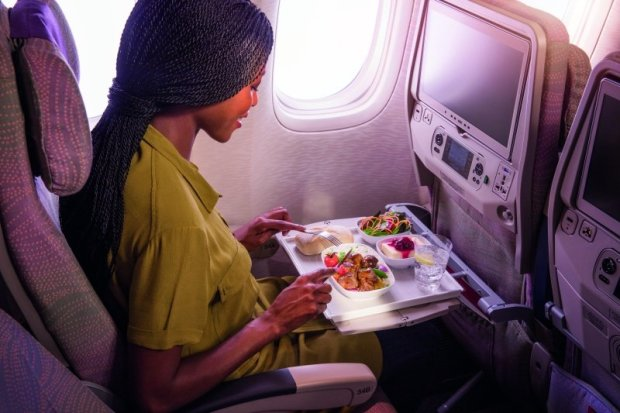 International and local cuisine on board Emirates, flying daily direct from Lusaka to Dubai.