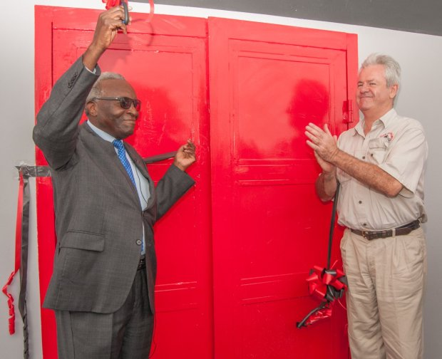 Zambeef chairman Dr Jacob Mwanza and joint chief executive Francis Grogan open the company's new Macro store in Chalala, Lusaka