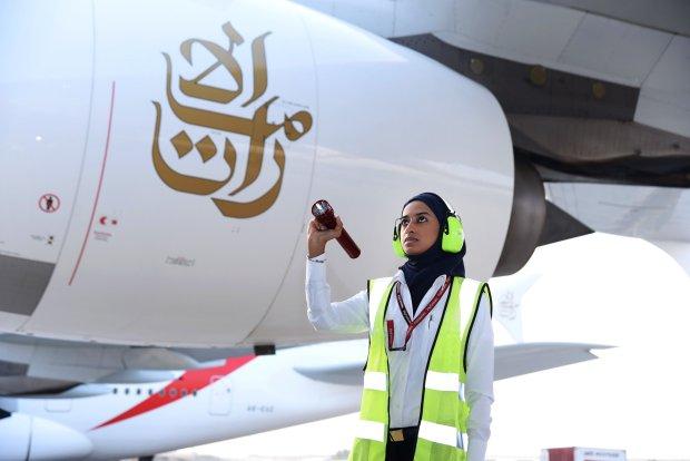 Asma Mohd Saeed Bin Suroor, Licensed Aircraft Engineer, doing preflight checks on EK 225