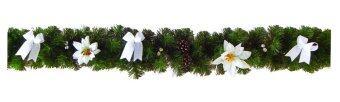 AllMerry Christmas สายกิ่งสนคริสต์มาส 6 ฟุต ประดับลูกสน ดอกไม้+โบว์สีขาว - สีเขียว (ชุด 2 เส้น)