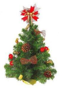 AllMerry Christmas ต้นคริสต์มาส 1.5 ฟุต ประดับโบว์+ดอกสน+ลูกเชอรี่ ยอดโบว์ (ชุด 4 ต้น) - สีเขียว