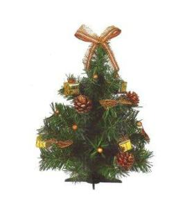 AllMerry Christmas ต้นคริสต์มาส 1 ฟุต ประดับลูกสน ยอดโบว์ทอง (ชุด2ต้น)