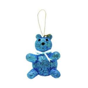 AllMerry Christmas ตุ๊กตาหมีโฟมหุ้มกากเพชร 4 นิ้ว - สีน้ำเงิน (ชุด 4 ตัว)