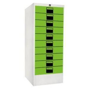 NDL ตู้เก็บเอกสาร 10 ลิ้นชัก สีเขียว ครีมมุก รุ่น 10L (Green/Cream)