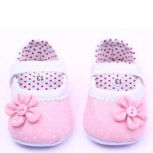 Baby Girl Shoes First Walkers Bebe Cute Flower Polka Dot Soft Shoes Pink